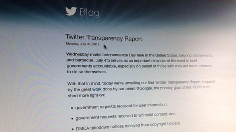 Transparency Report: Twitter hat erstmals einen Transparency Report nach dem Vorbild von Google veröffentlicht.