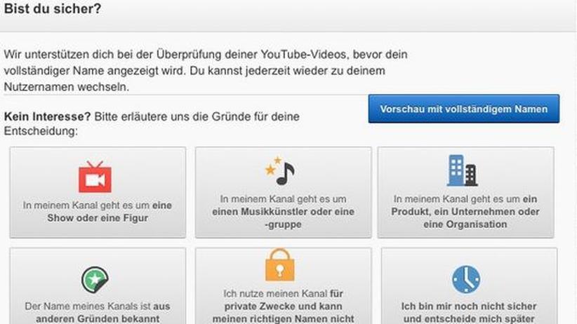 Google: YouTube fragt nach, warum Nutzer nicht unter ihrem vollständigen Namen kommentieren wollen.