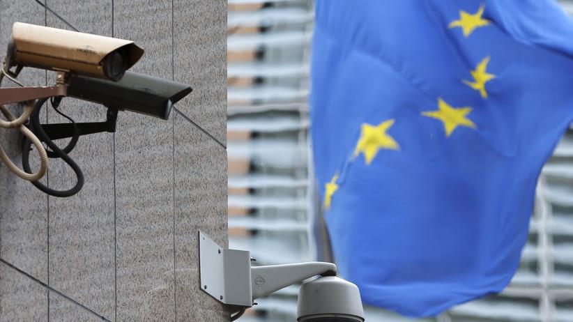 Videoüberwachung an einem Gebäude der EU in Brüssel