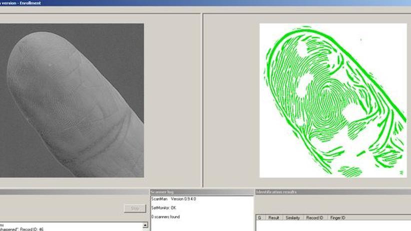 Screenshot der Software VeriFinger mit dem Fingerabdruck Ursula von der Leyens