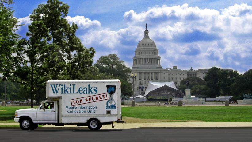 Ein WikiLeaks-Truck vor dem Kapitol in Washington D.C.