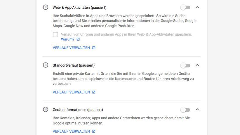 Google-Konto: Wer Datenschutz schätzt, sollte die Suchverläufe besser deaktivieren.