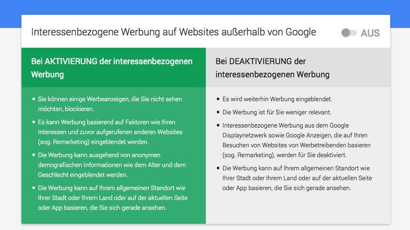 Google-Konto: Der Konzern kann Werbung personalisieren – muss aber nicht.
