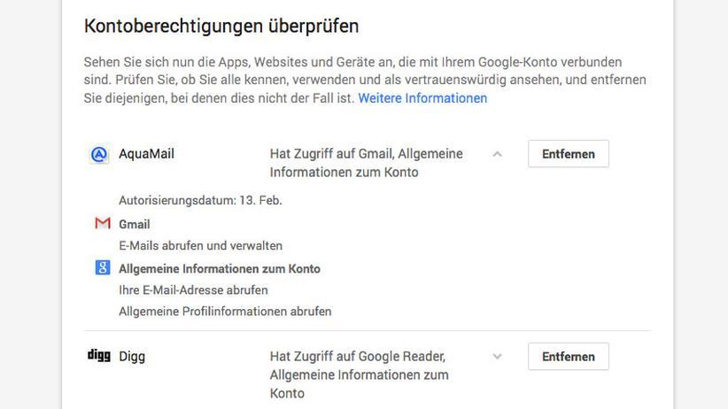 Google-Konto: Veraltete Berechtigungen sollte man entfernen.