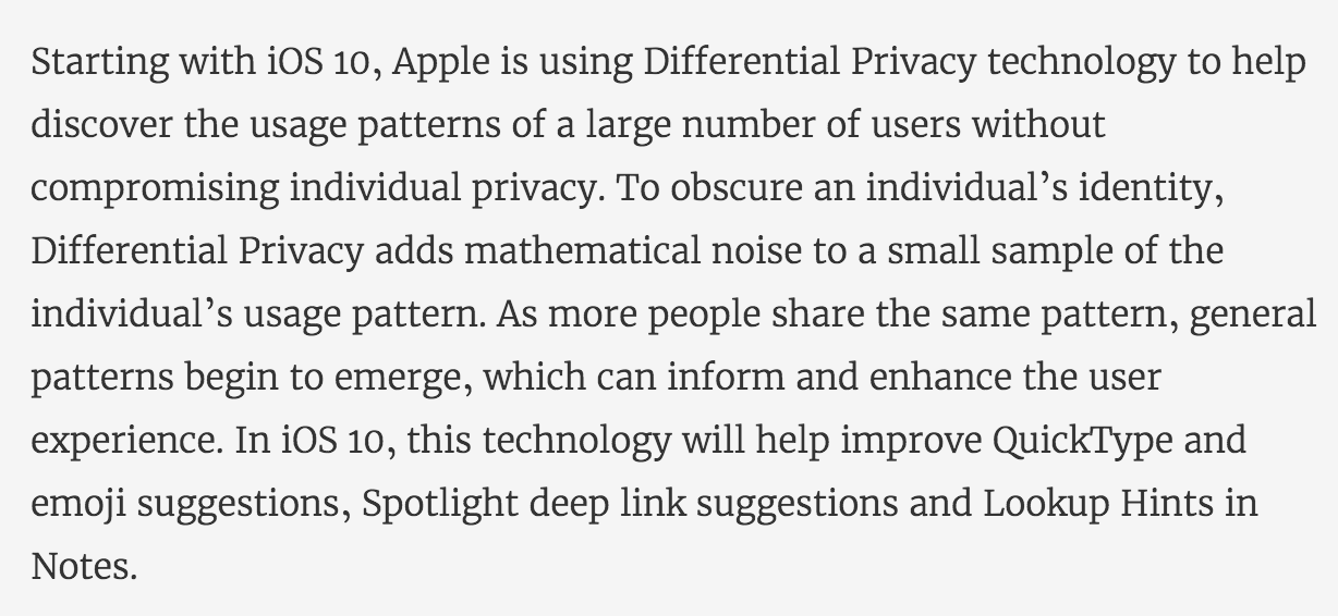 "Apple-Statement zu ""Differential Privacy"""