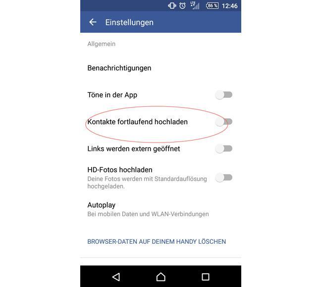Die Option in der Facebook-App (in diesem Fall Android)