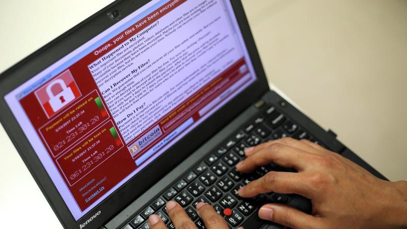 Ransomware: WannaCry-Screenshot auf einem Laptop