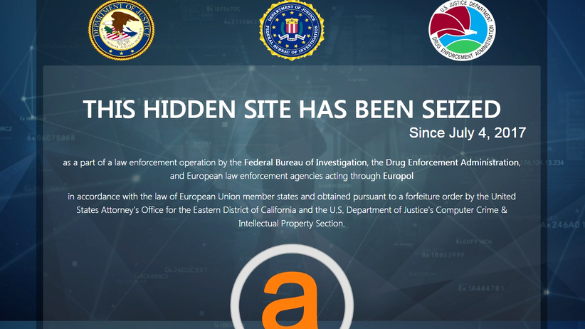 AlphaBay, von den Behörden stillgelegt