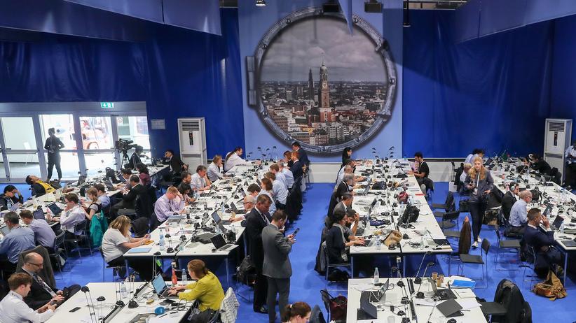 G20-Gipfel: Journalisten im Pressezentrum beim G20-Gipfel im Juli in Hamburg