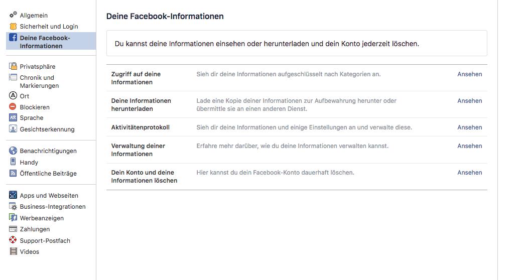 In den Einstellungen können Facebook-Nutzer die über sie gespeicherten Daten einsehen.