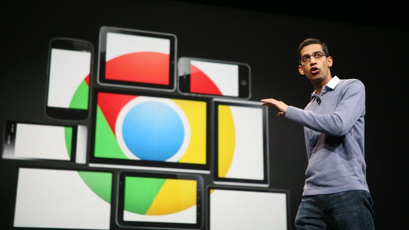 Google Chrome: Der damalige Vice President für Chrome und heutige Google-CEO Sundar Pichai stellte 2012 die mobile Version des Browsers vor.