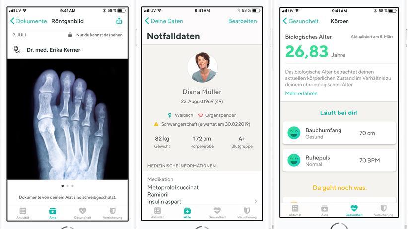 Gesundheitsdaten: In die Vivy-App auf dem Smartphone können Nutzer persönliche Gesundheitsdaten wie den eigenen Ruhepuls hochladen oder Röntgenbilder, die sie Ärzten auf digitalem Weg zukommen lassen möchten.