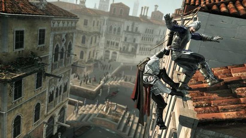 Über den Dächern von Florenz ist es gefährlich - vor allem für jene, die Ezio (li.) zu Fall bringt