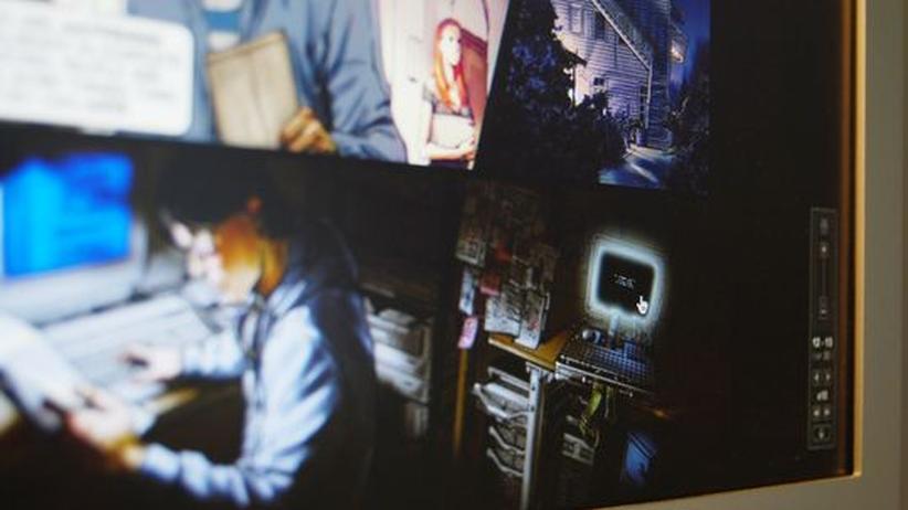 """Kunst und Spiele: Auf Seite 13 des virtuellen Comics """"X"""" taucht auf einmal ein Bildschirm auf. Wer auf den Monitor klickt, gelangt in ein Computerspiel"""