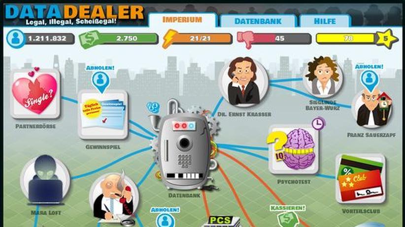 """Datenschutz: In """"Data Dealer"""" baut sich der Spieler ein Imperium aus Quellen auf, die ihn mit immer neuen persönlichen Daten verorgen."""