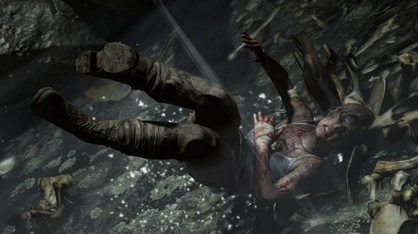 Lara Croft hat Schmerzen.