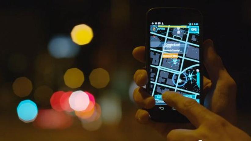 """Spiel """"Ingress"""": Blick auf die Ingress-App mit einem Portal"""