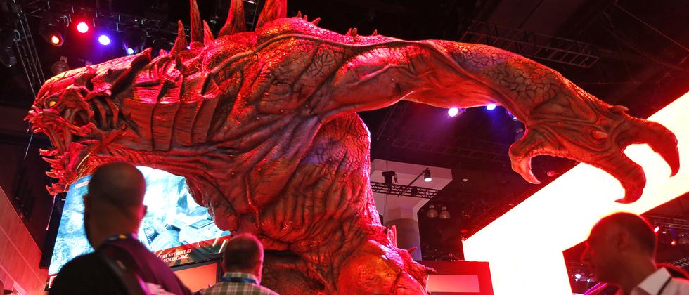 Gamer am Stand des Spielestudios Take Two auf der Electronic Entertainment Expo, E3, in Los Angeles.