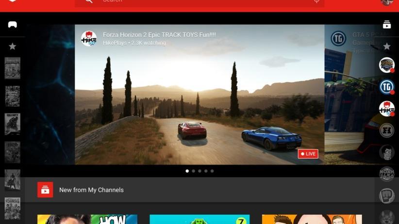 Auf der Website von YouTube Gaming: links die Games, rechts die Kanäle.
