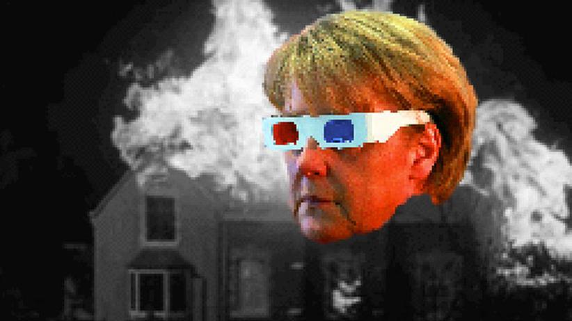 """In """"Dear Chancellor"""" bekommt die Bundeskanzlerin Laseraugen."""