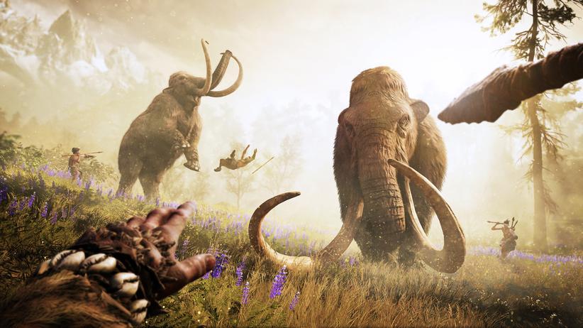 """""""Far Cry Primal"""": Krieger Takkar und sein Wenja-Stamm auf Mammutjagd."""
