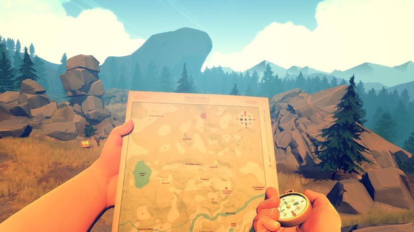 """Karte und Kompass sind die einzigen Möglichkeiten, sich in """"Firewatch"""" zu orientieren."""
