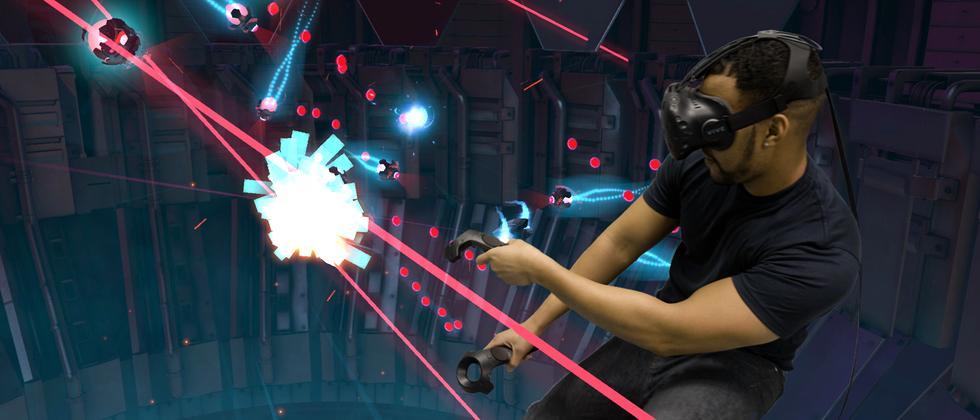 Feindlichen Lasern kann man durch Bewegungen ausweichen.