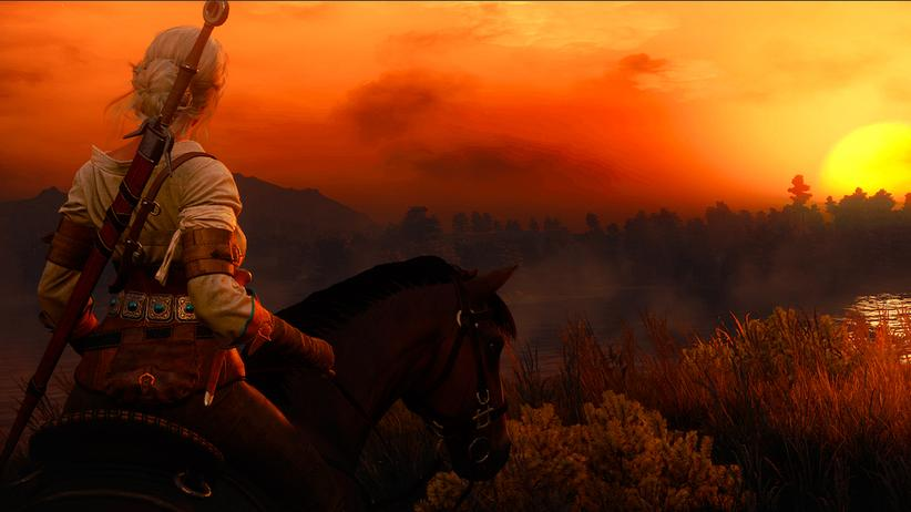 """Schön, oder? Ein Sonnenuntergang in """"The Witcher3""""."""