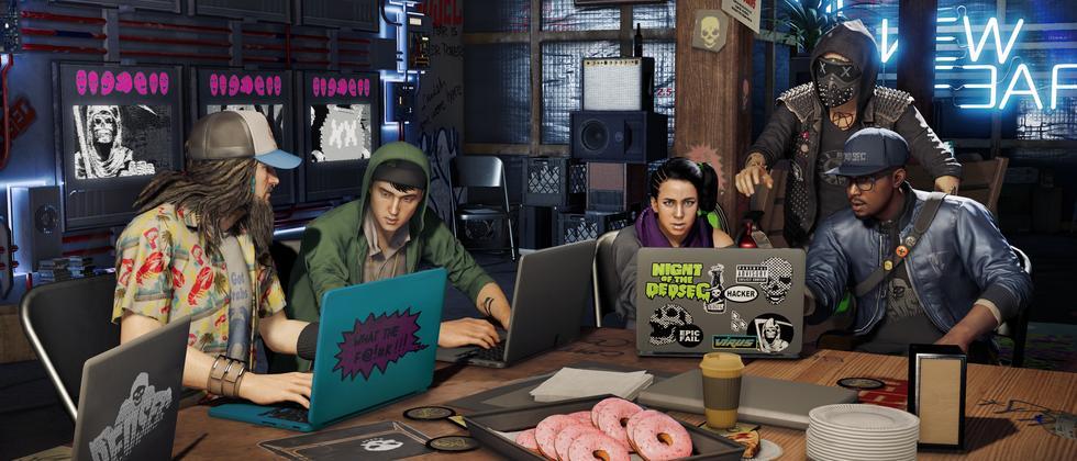 """Donuts, ernsthaft? Die Hackertruppe aus """"Watch Dogs 2""""."""