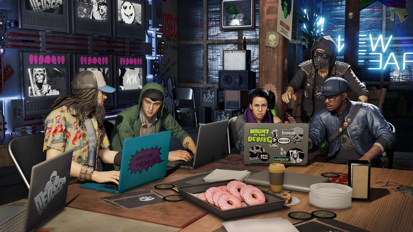 """""""Watch Dogs 2"""": Donuts, ernsthaft? Die Hackertruppe aus """"Watch Dogs 2""""."""