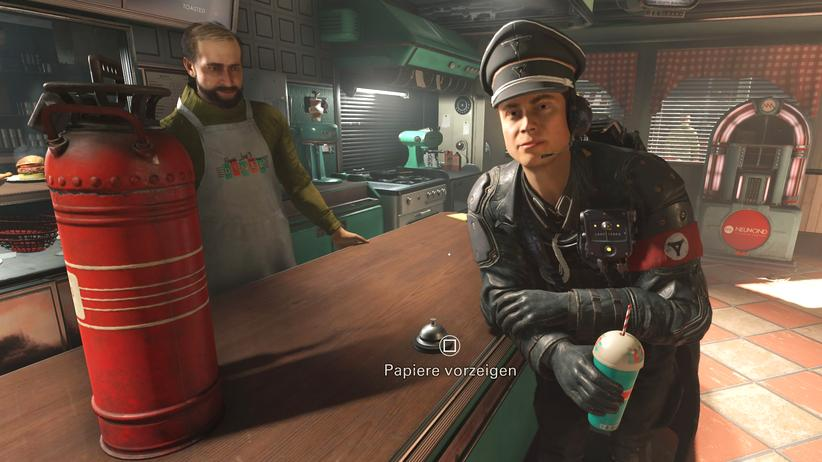 """Wolfenstein 2: The New Colossus"": Nazis mit seltsamen Armbinden"
