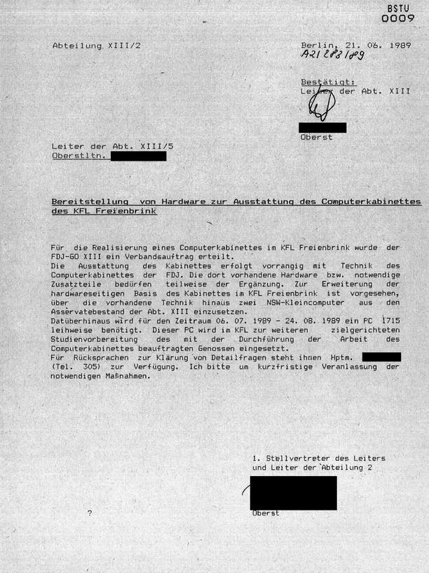 """Videospiele in der DDR: """"Darüber hinaus wird für den Zeitraum 06. 07. 1989 – 24. 08. 1989 ein PC 1715 benötigt"""": Während im Sommer '89 in Ungarn der Massenexodus von DDR-Bürgern nach Österreich begann, sollten nahe Berlin Kinder an Computern geschult werden."""
