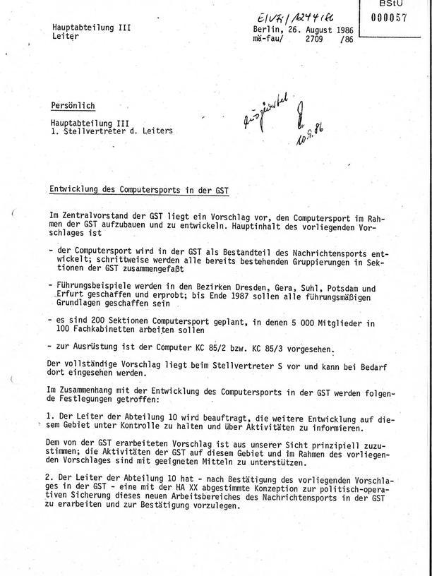"""Videospiele in der DDR: """"(...) der Computersport wird in der GST als Bestandteil des Nachrichtensports entwickelt"""": Die Stasi ist über die Pläne der GST selbstverständlich informiert im Jahr 1986."""