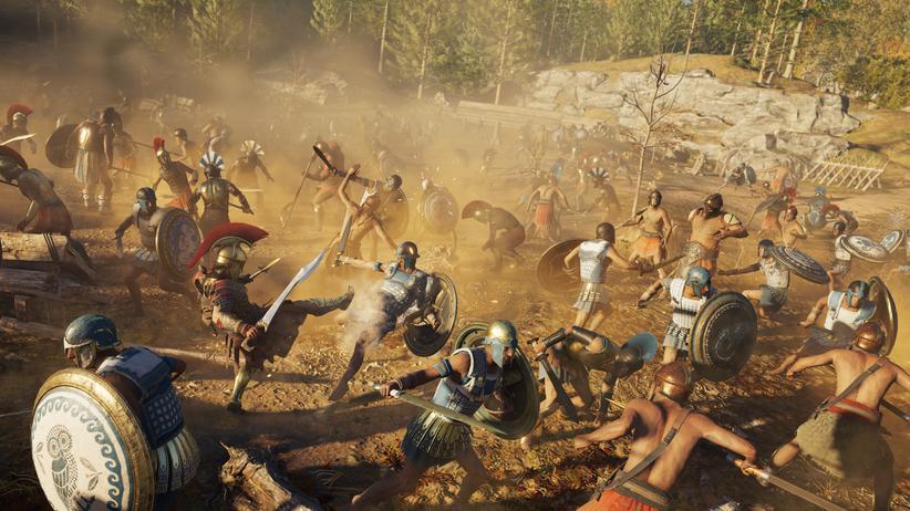 """USK: Im Spiel """"Assassin's Creed Odyssey""""  gibt es visuell extrem realistisch dargestellte Kampfszenen. Es hat dennoch von der USK eine Alterseinstufung bereits """"ab 16"""" erhalten."""
