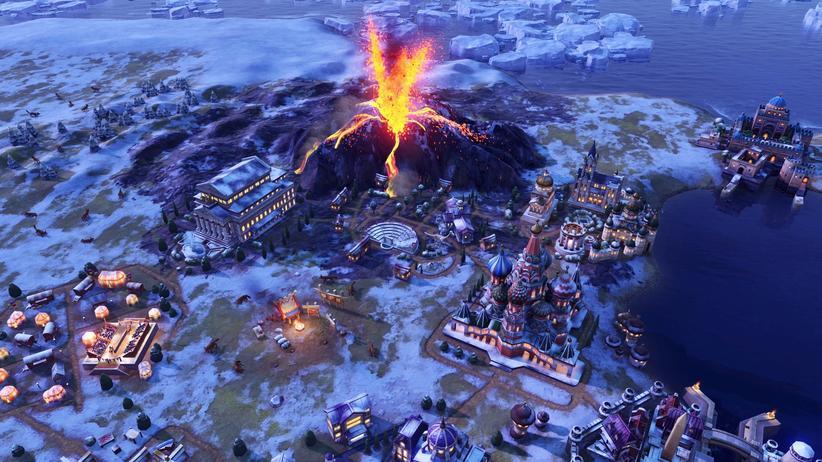 """""""Civilization VI: Gathering Storm"""": Irgendwo bricht ein Vulkan aus, irgendwo tritt ein Fluss über die Ufer: In dem Videospiel """"Civilization VI: Gathering Storm"""" erleben Gamerinnen und Gamer die Erderwärmung graduell."""