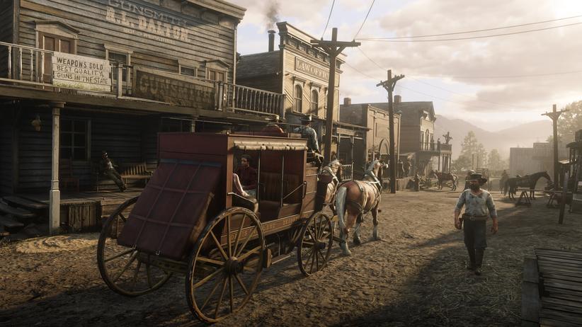 """Computerspiele: Eine Kulisse aus dem Videospiel """"Red Dead Redemption 2"""": Zu wuchernd darf die Architektur nicht sein."""