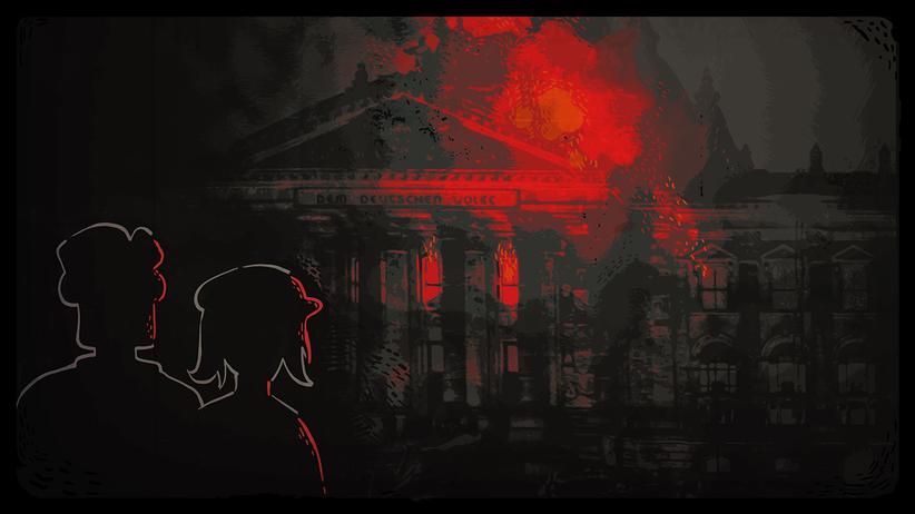 """""""Through the Darkest of Times"""": Weiss gezeichnete Umrisse zweier Personen auf schwarzem Untergrund, dahinter schemenhaft das brennende Reichtstagsgebäude."""