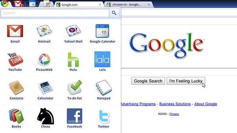 Das App-Menu von Googles neuem Betriebssystem Chrome