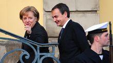 Kanzlerin Angela Merkel und der spanische Premierminister Jose Luis Rodriguez Zapatero sind zu Gast auf der weltgrößten IT-Messe in Hannover