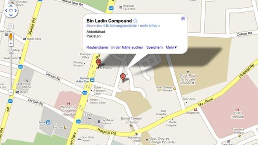 Googlenutzer haben den angeblichen Ort des Angriffs auf Osama bei Google Maps eingetragen