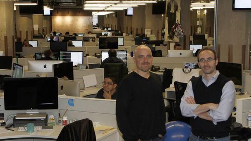 Brad Keywell (li) und Eric Lefkofsky (re) im Hauptquartier von Groupon. Sie waren die ersten Finanziers der Firma.