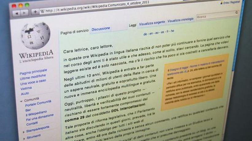 Umstrittenes Gesetz: Italienische Wikipedia aus Protest offline
