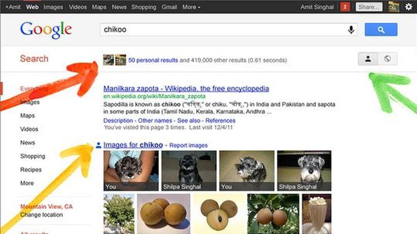 """Google: Google zeigt mit der Suchfunktion """"Search Plus Your World"""" künftig auch """"persönliche Ergebnisse""""."""