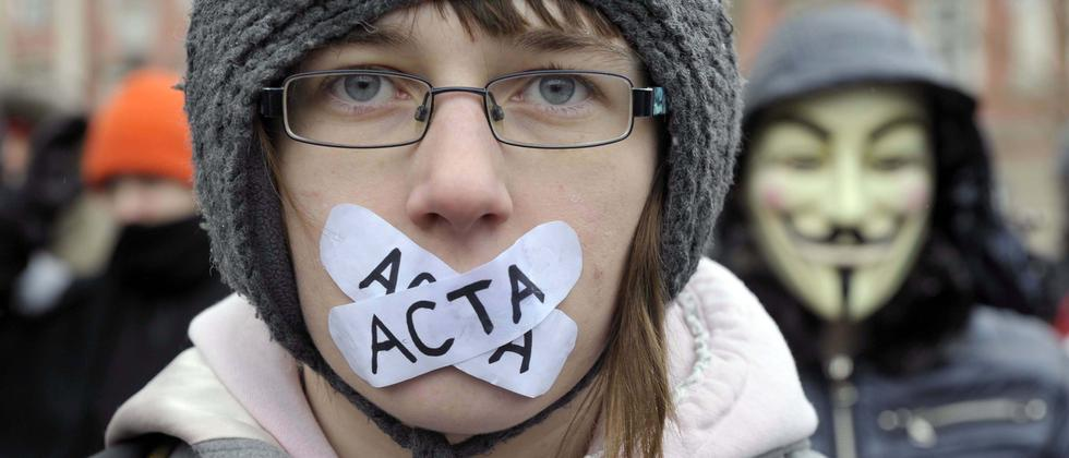 Proteste gegen das Acta-Abkommen, das gegen Urheberrechtsverstöße vorgehen will