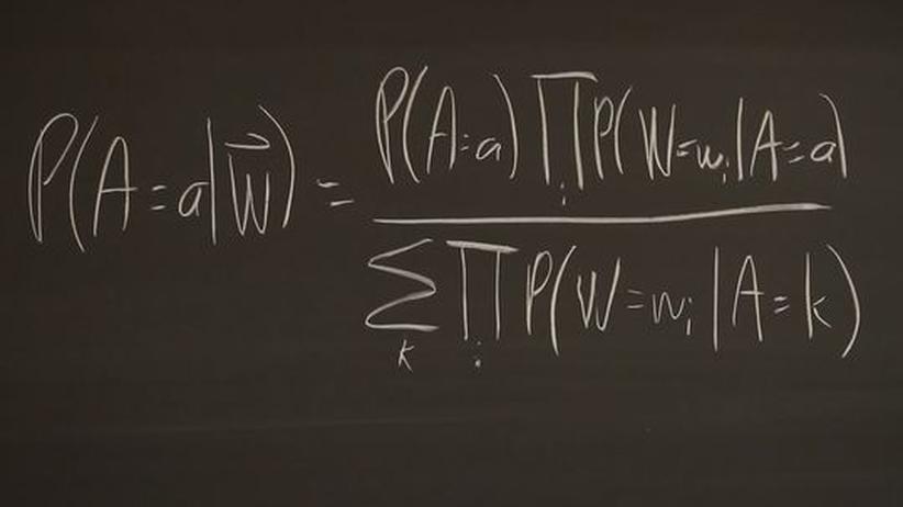 Statistische Formel, die zwei Forscher der Johns-Hopkins-Uni nutzen, um in Tweets Krankheiten zu analysieren