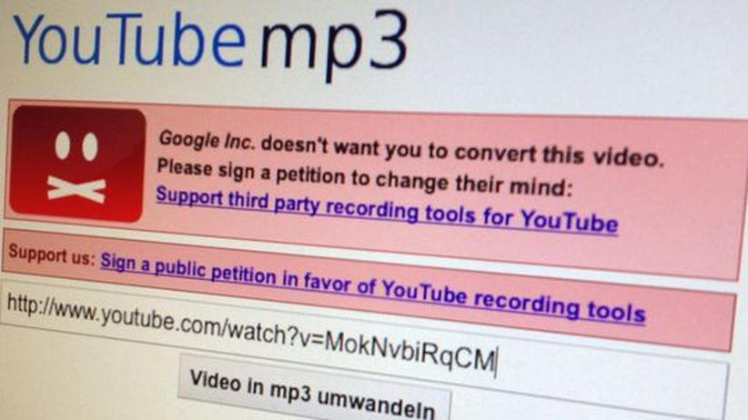 YouTube: Fehlermeldung auf YouTube-mp3.com