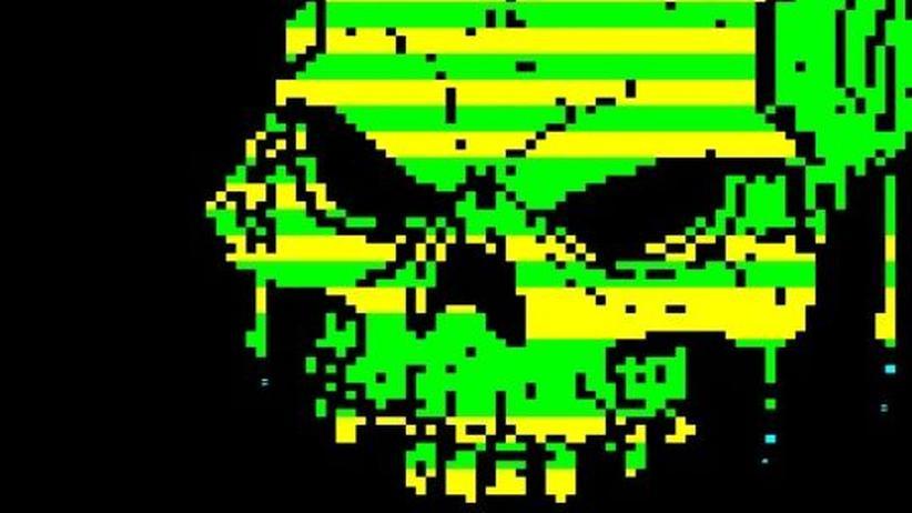 Kunst: Künstler pixeln aus Teletext Totenköpfe