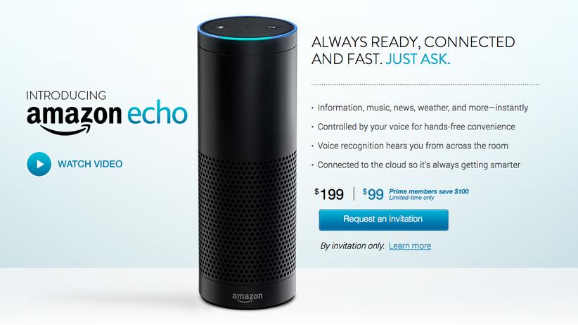 Amazon Echo: Screenshot der Produktseite zu Amazons sprachgesteuertem Assistenten Echo