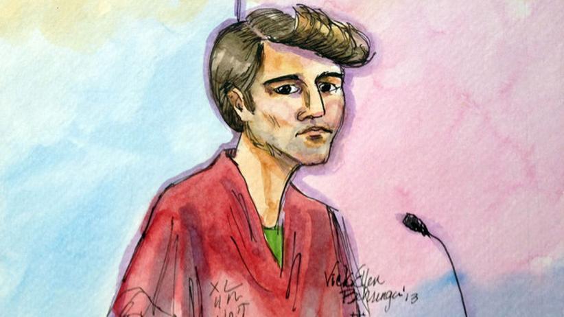 Eine Gerichtszeichnung von Ross Ulbricht nach seiner Verhaftung in San Francisco.
