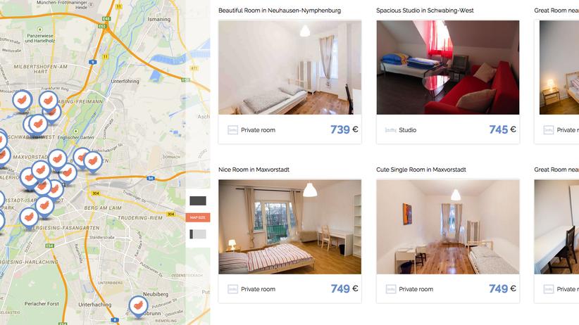 Immer wieder die gleiche Bettwäsche und die gleichen Möbel: Screenshot der Nestpick-Website